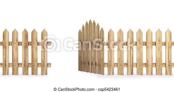 Wooden fence with a gate isolated on white including clipart