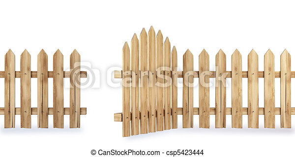 Wooden fence with a gate isolated on white including drawing