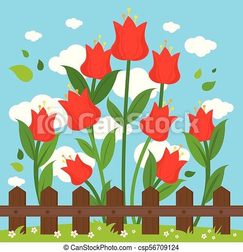 fence., legno, illustrazione, dietro, vettore, fondo, fiori, rosso - csp56709124