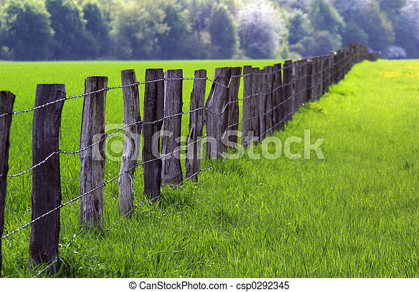 fence over farmland 03 - csp0292345