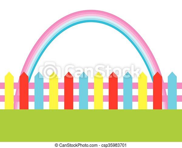 fence rainbow - csp35983701