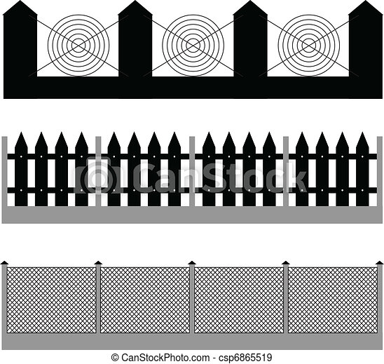 fence silhouette vector - csp6865519