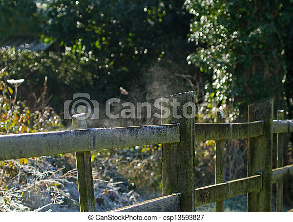 Fence Steaming in Frosty Weather - csp13593827