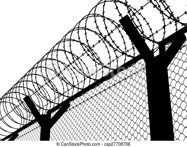 Fence with a barbed wire, silhouette illustration.