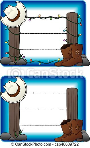 Fence With Cowboy Hat And Boots - csp46609722