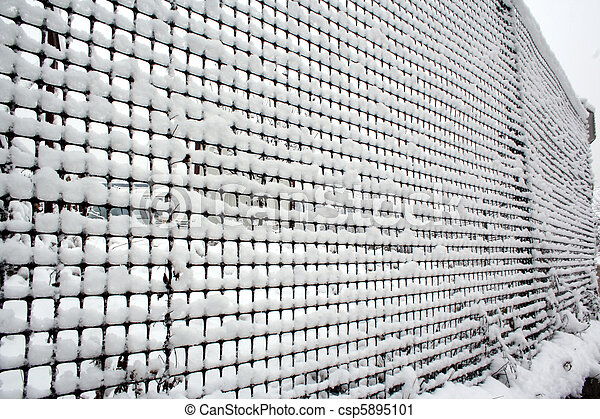 fence with snow - csp5895101
