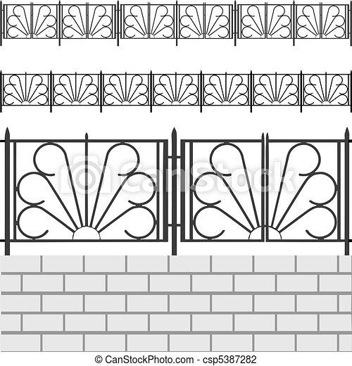 Fence with white bricks - csp5387282