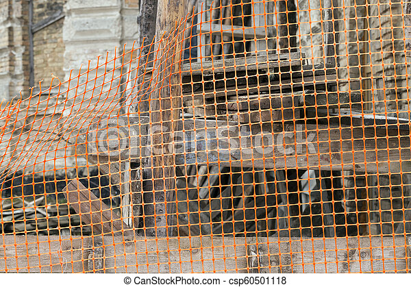 fenced with orange plastic - csp60501118