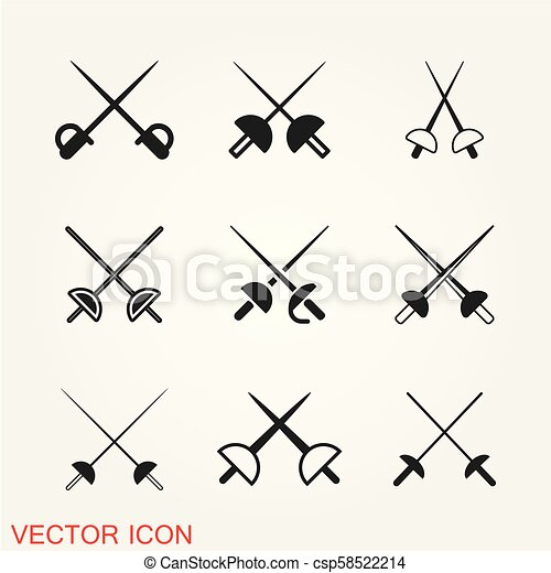 Fencing icon vector illustration on the background. - csp58522214