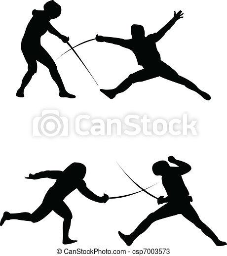 Fencing silhouette - vector - csp7003573