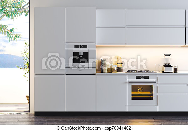 Fenetres Grand Moderne Rendering Clair Mer Intérieur élégant Vue Cuisine 3d