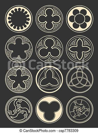 Fenetres style gothique l ment vecteurs eps for Fenetre gothique