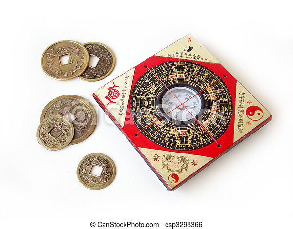 Feng shui compass and chinese coins. - csp3298366