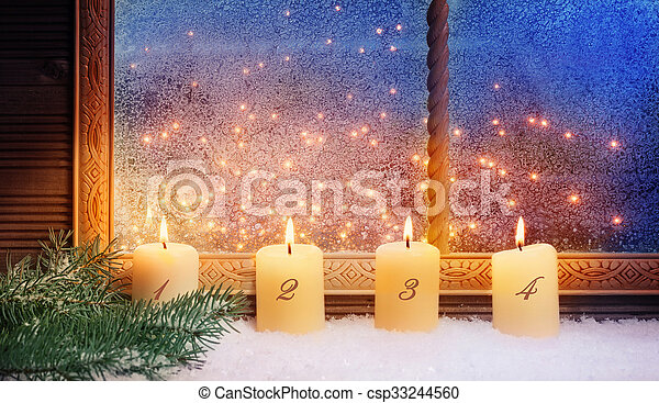 fenster, 4., advent, dekorationen - csp33244560
