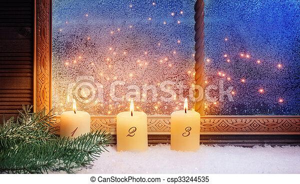 fenster, advent, dekorationen, 3. - csp33244535
