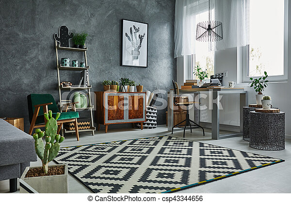Fenster Grau Zimmer Teppich Zimmer Grau Fenster Tisch Kommode