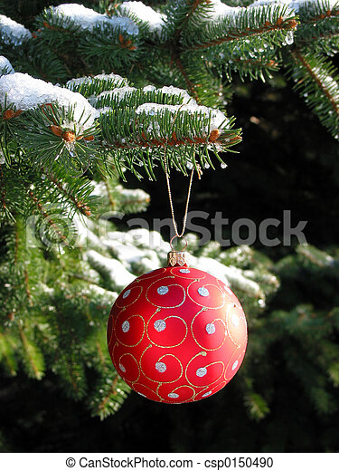 fenyő, labda, fa, karácsony, piros - csp0150490