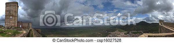 Feria town between the castle battlements - csp16027528
