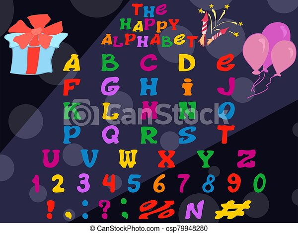 feriado, alfabeto, brillante, inglés, interesante - csp79948280