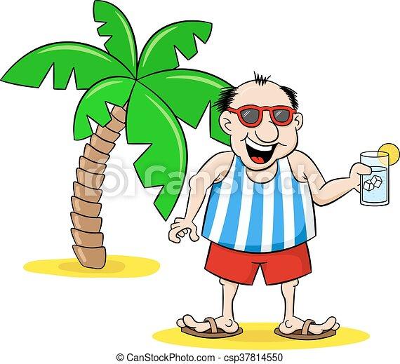 Un turista de dibujos animados con bebida en vacaciones - csp37814550