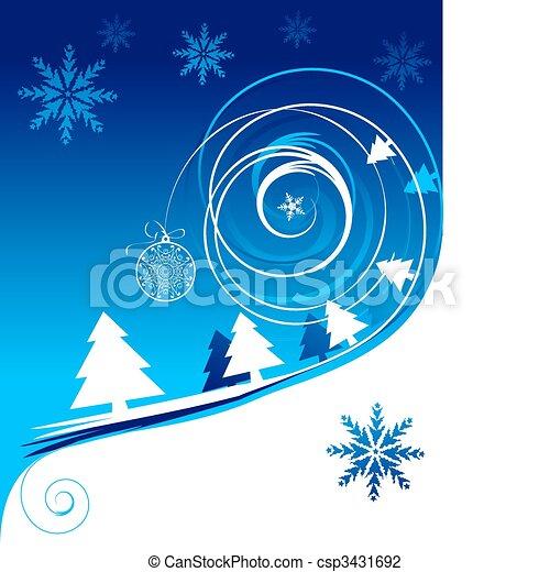 feriado, cartão natal, inverno - csp3431692