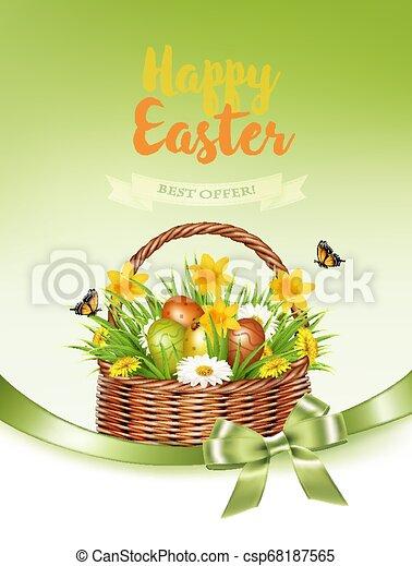 feriado, coloridos, obtendo, primavera, ovos, basket., vector., flores, páscoa, cartão - csp68187565