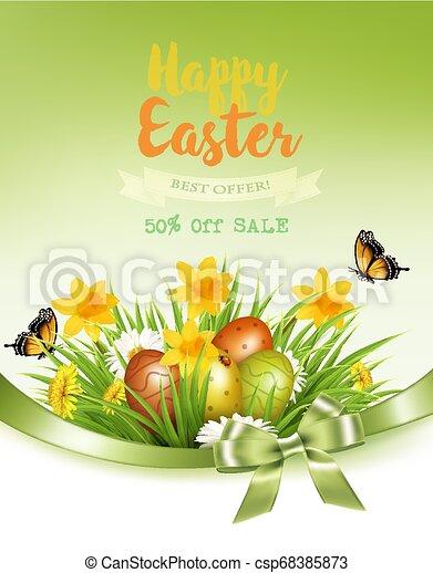 feriado, fundo, coloridos, primavera, ovos, grass., vector., flores, páscoa - csp68385873