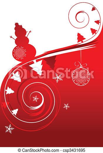feriado, inverno, cartão, natal - csp3431695