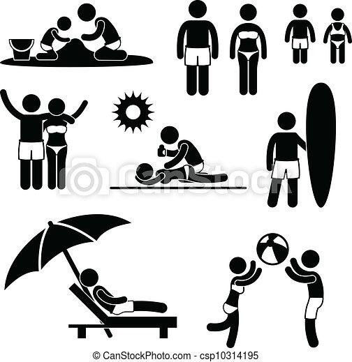 feriado verão, praia, família, lazer - csp10314195