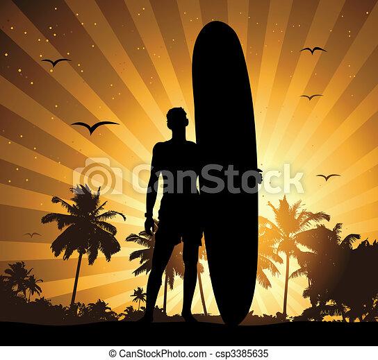 feriado, verão, surfboard, homem - csp3385635