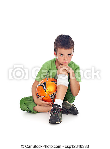 ferido, menino, bola futebol, perna - csp12848333