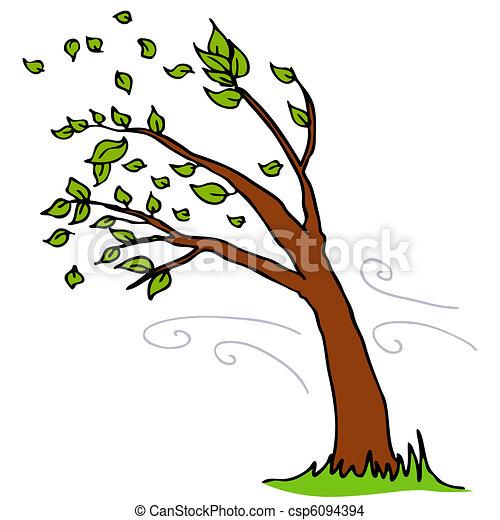 fermé, feuilles, souffler, arbre, vent - csp6094394