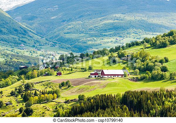 ferme, montagne, norvège, village - csp10799140