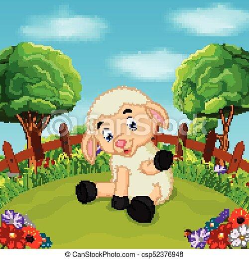 Ferme mouton heureux dessin anim sourire ferme mouton - Mouton dessin anime ...