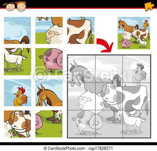 Ferme puzzle puzzle animaux dessin anim rigolote - Puzzle dessin ...