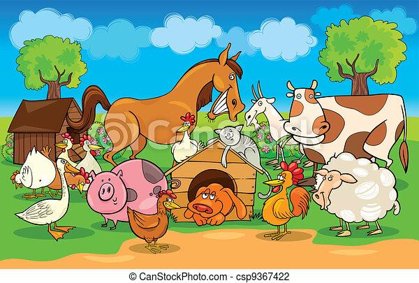 ferme, rural, animaux, scène, dessin animé - csp9367422