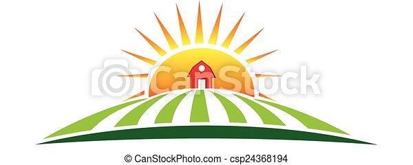 ferme, soleil, agriculture, logo - csp24368194