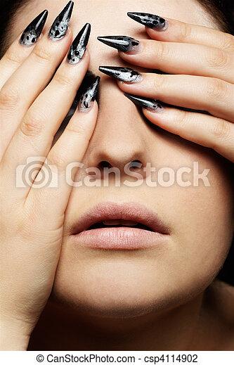 fermer, girl, yeux, elle - csp4114902