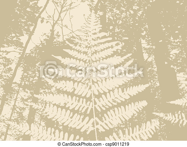 fern silhouette on brown background, vector illustration - csp9011219