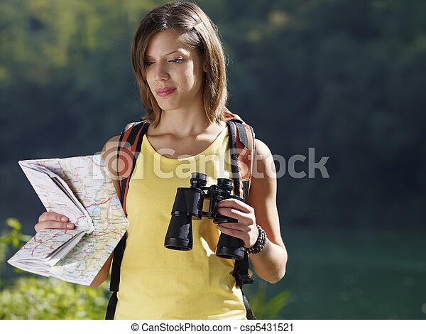 fernglas, landkarte, woman, wandert - csp5431521