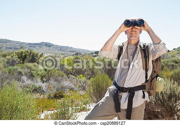 fernglas, wanderer, land, schauen, spur, durch - csp20889127