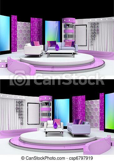 fernsehapparat studio, design - csp6797919