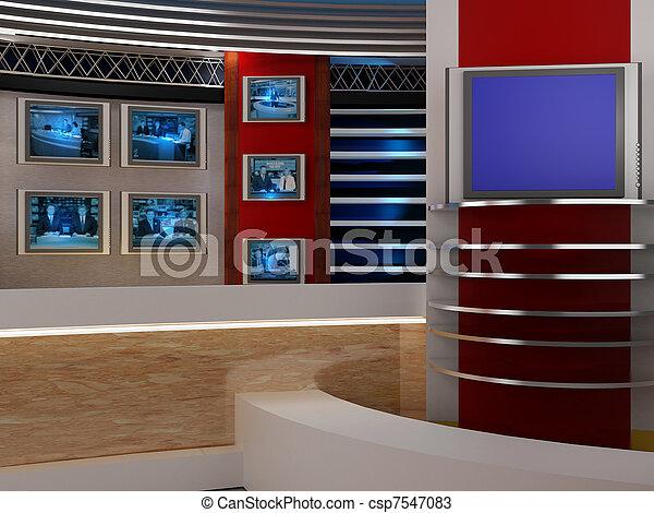 fernsehapparat studio - csp7547083
