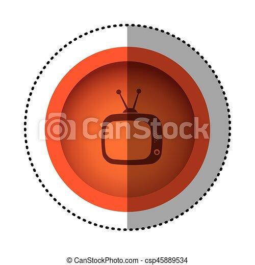 Fernsehen, altes , antenne, symbol, orange, runder , ikone ...