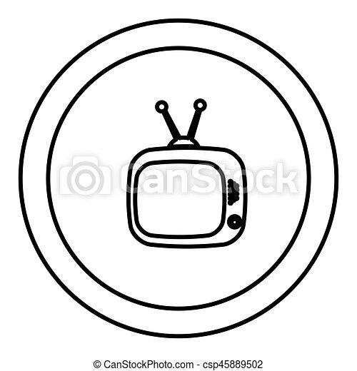 Fernsehen, altes , antenne, symbol, runder , ikone. Fernsehen, altes ...