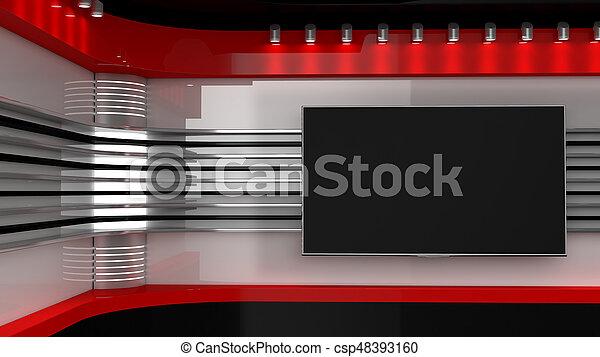 Tv Studio. Nachrichtenstudio. Nachrichtenraum - csp48393160
