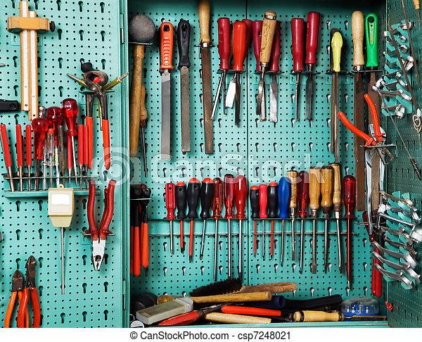 ferramenta, oficina, gabinete - csp7248021