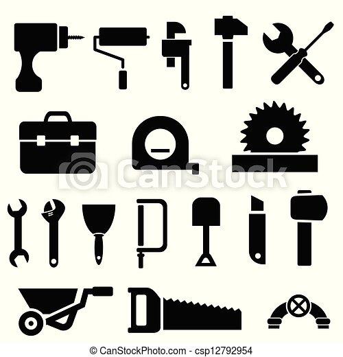 ferramenta, pretas, ícones - csp12792954