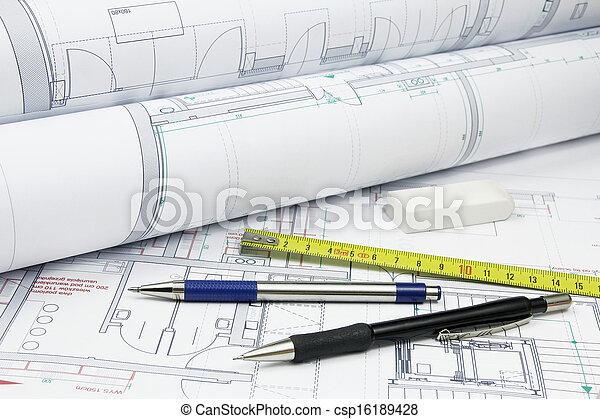 ferramentas, arquitetura, planos - csp16189428
