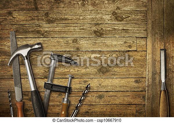 ferramentas, cortejar, antigas, carpintaria - csp10667910